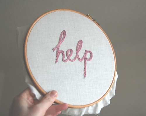 help hand-embroidery hoop